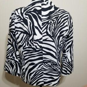 Rafaella Jackets & Coats - Rafaella Zebra Print Cotton Blazer Jacket Large